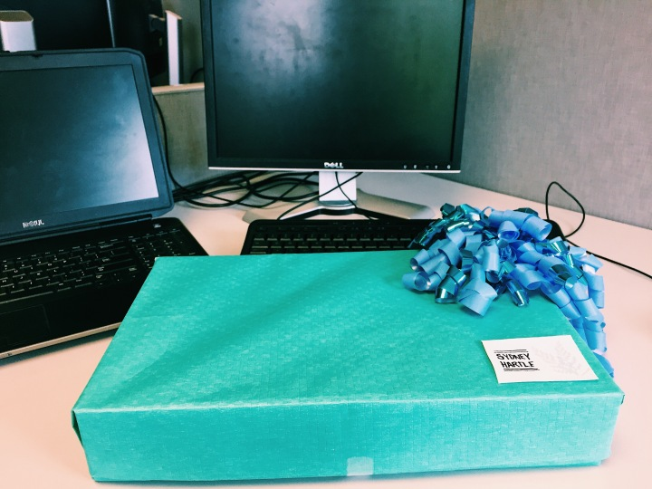 Decorating my work desk: an unexpected package for the blues